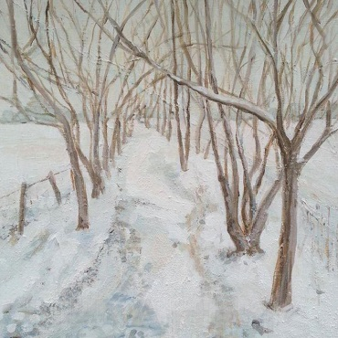 Winter Path, oil painting by Jan Rawnsley